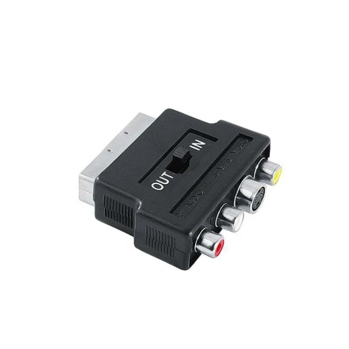 Видео преходник HAMA 42357, SCART(м) към 3x RCA Chinch(ж)/ S-Video(ж), с превключвател за вход/изход, черен image