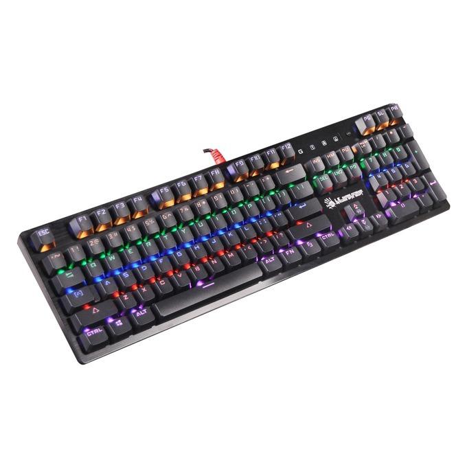 Клавиатура A4Tech Bloody B820R Red, черна, червени суичове, гейминг, подсветка, USB image