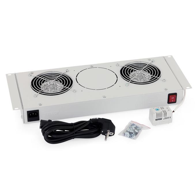 Вентилаторен блок Triton RAC-CH-X25 за стенен шкаф, 2 вентилатора, термостат, бял image