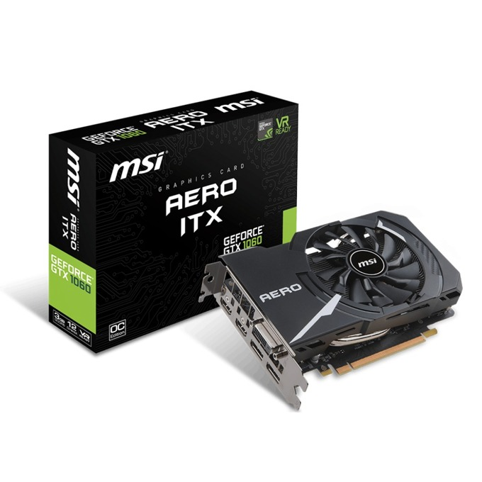 Видео карта Nvidia GeForce GTX 1060, 3GB, MSI Aero ITX, PCI-E 3.0, GDDR5, 192-bit, DisplayPort, HDMI, DVI image