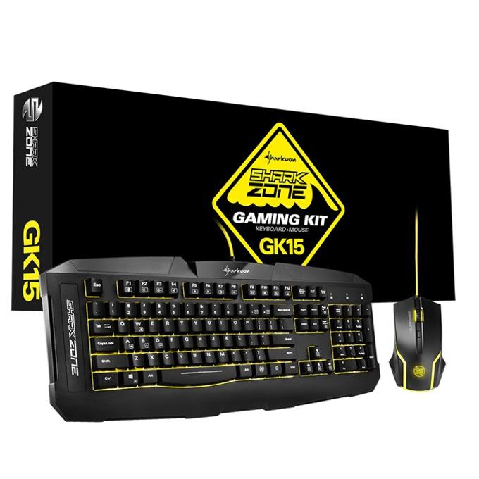 Комплект клавиатура и мишка Sharkoon Shark Zone GK15, 3 цвята на осветление, лазерна мишка (3200 dpi), USB, без кирилизация, черни image