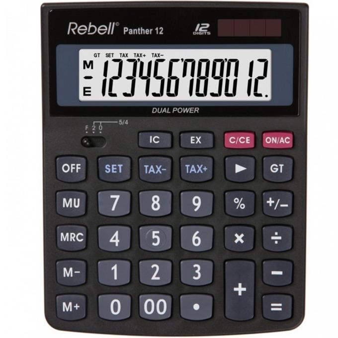 Калкулатор Rebell Panther 12, 12 разряден дисплей, клавиш двойна нула,черен image