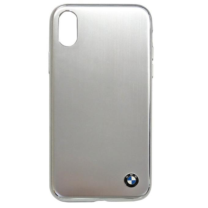 Калъф Apple iPhone X, страничен протектор с гръб, алуминиев и термополиуретанова рамка(TPU), BMW Brushed Aluminium Soft Case, Shock Absorbent, сребрист image