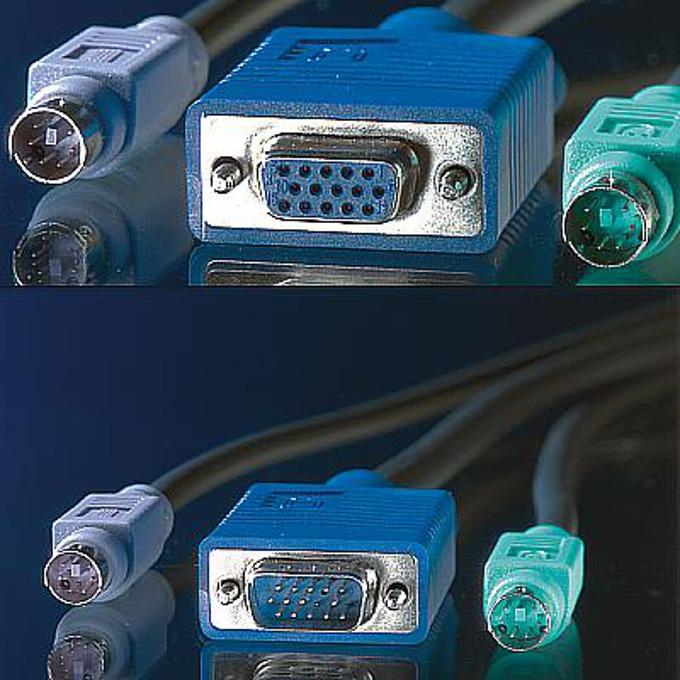 KVM кабел ROLINE 11.99.5450, 1x HD15 M/F, 2x PS/2 M/F, 3C+4, 1.8 м image