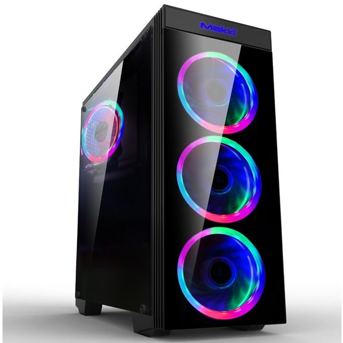 Кутия Makki MAKKI-8872-RGB-4F, ATX/mATX/Mini-ITX, 1x USB 3.0, прозрачни панели, 4x 120мм вентилатора с RGB подсветка, черна, без захранване image