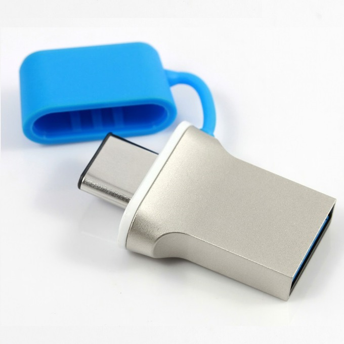 16GB USB Flash Drive, Goodram DualDrive, USB 3.0, синьо/сива  image
