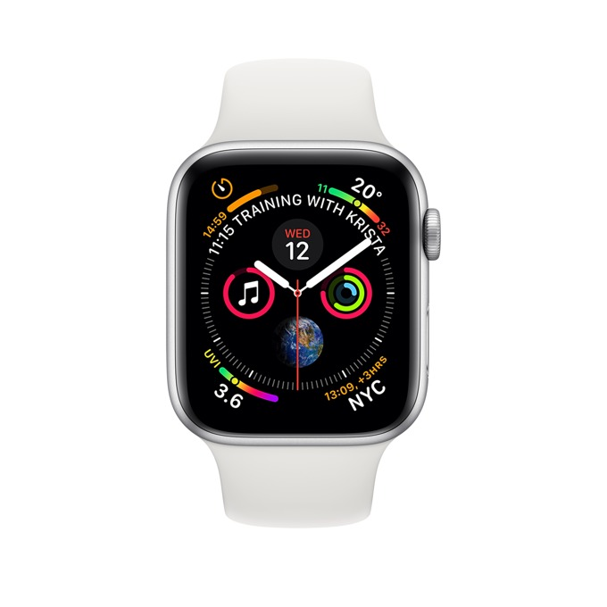 Смарт часовник Apple Watch S4 40mm, OLED дисплей, водоустойчив, силиконова каишка, бял image