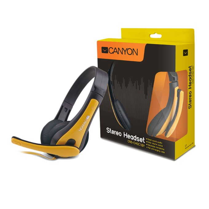 Слушалки Canyon CNS-CHSC1BY, микрофон, 3.5 mm jack, черен/жълт image
