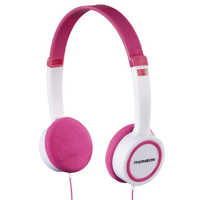 Слушалки Thomson HED1105P, микрофон, Бял / Розов image