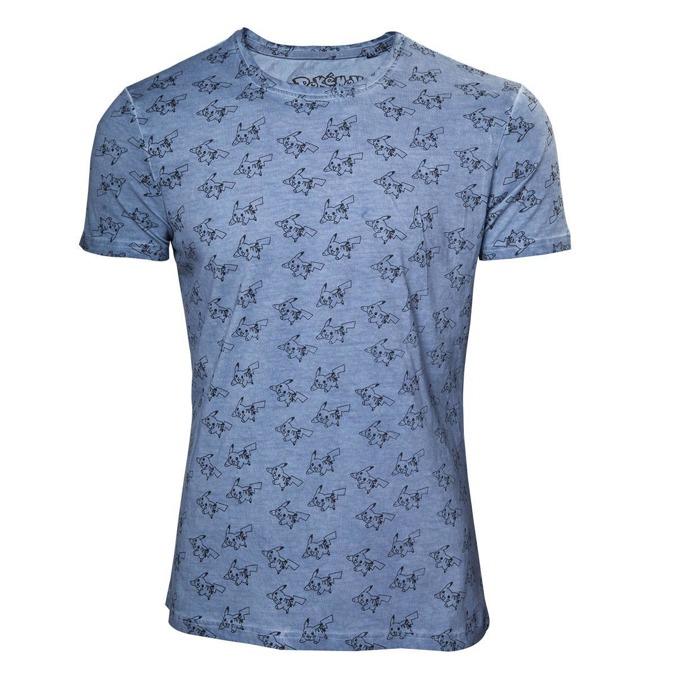 Тениска Bioworld Pokemon All Over Pikachu, размер M, синя image