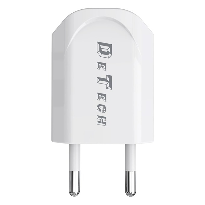 Зарядно устройство DeTech DE-11 от контакт към 1 x USB А(ж), 5V/1A, 220V, бяло image