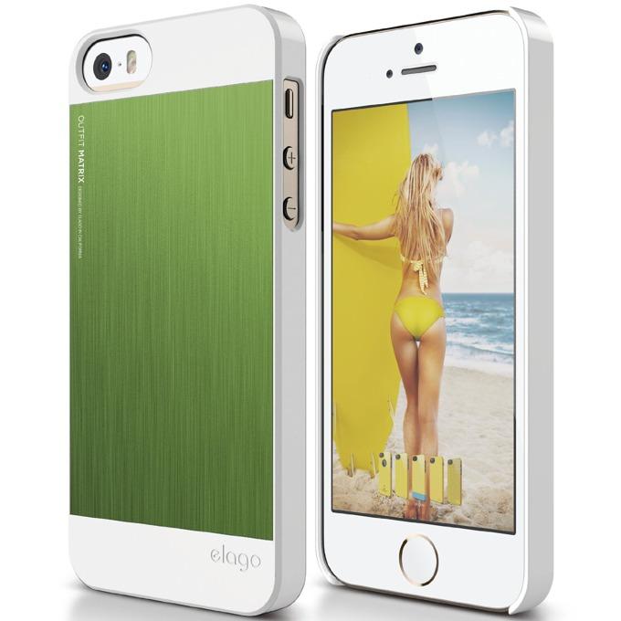 Поликарбонатов протектор Elago S5 Outfit Matrix за iPhone 5 и iPhone 5S, бял-зелен image