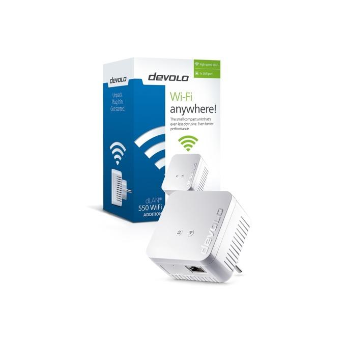 Powerline адаптери Devolo dLAN® 550 WiFi, 500Mbps, до 400м обхват, 1x 10/100/1000 Ethernet порт, 2 антени image