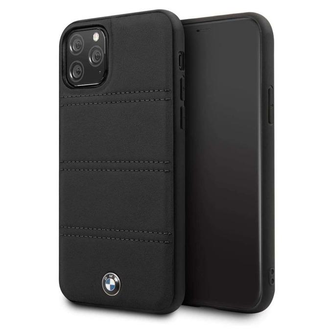 Калъф за Apple iPhone 11 Pro Max, естествена кожа, BMW Signature Horizontal Lines BMHCN65PELBK, черен image