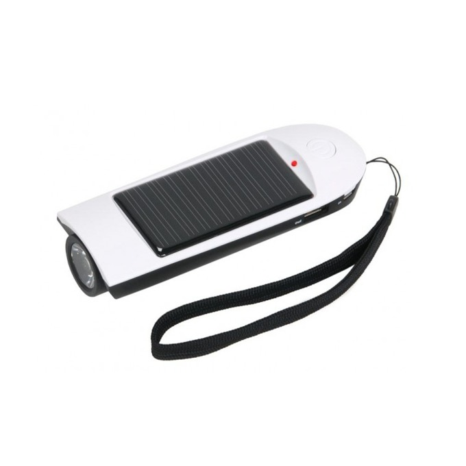 Bъншна батерия/power bank A-solar Travel Pal AS103, 800 mAh, фенерче и аларма, USB изход, cоларна, бяла image