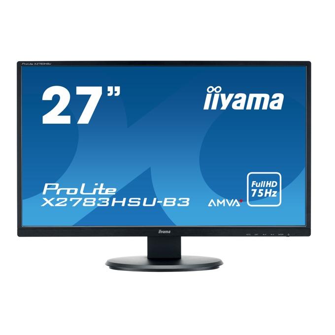"Монитор Iiyama Prolite X2783HSU-B3, 27"" (68.58 cm) AMVA+ панел, Full HD, 4 ms, 80 000 000 : 1, 300 cd/m², DisplayPort, HDMI, VGA image"