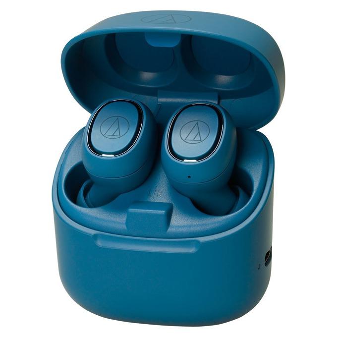 Слушалки Audio-Technica ATH-CK3TW, безжични, микрофон, до 6 часа възпроизвеждане, Bluetooth, кутия за зареждане, сини image