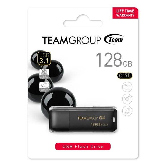 128GB USB Flash Drive, Team Group C175, USB 3.1, черна image