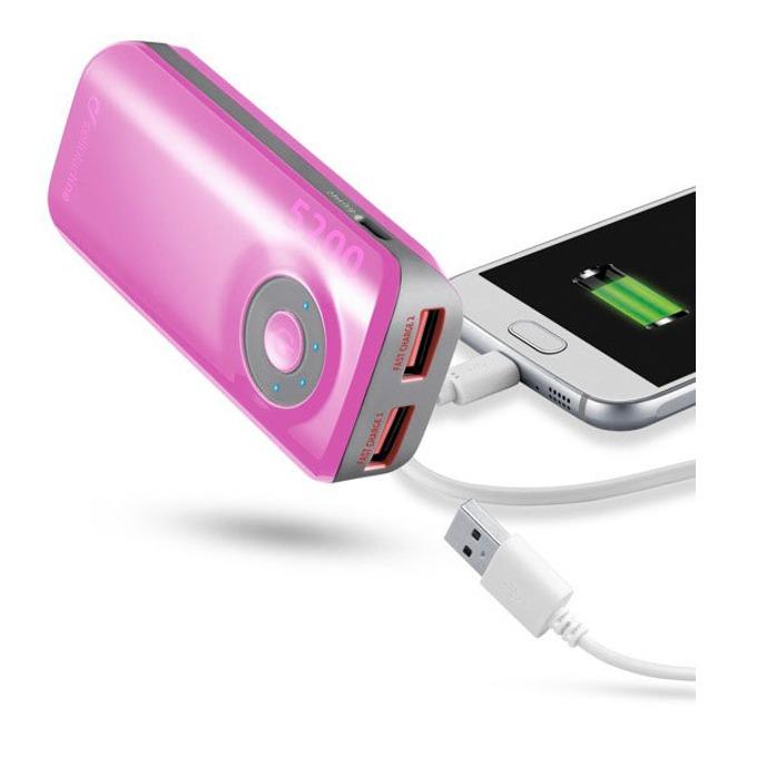 Външна батерия/power bank/ Cellular Line, 5200mAh, розова, 2x USB, On/Off image