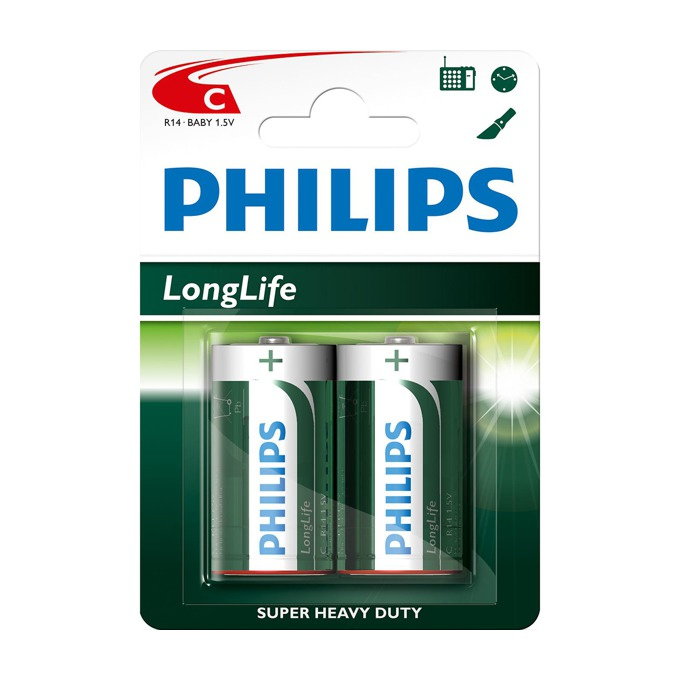Батерии алкални Philips Long Life LR14(C), 1.5V, 2 бр. image