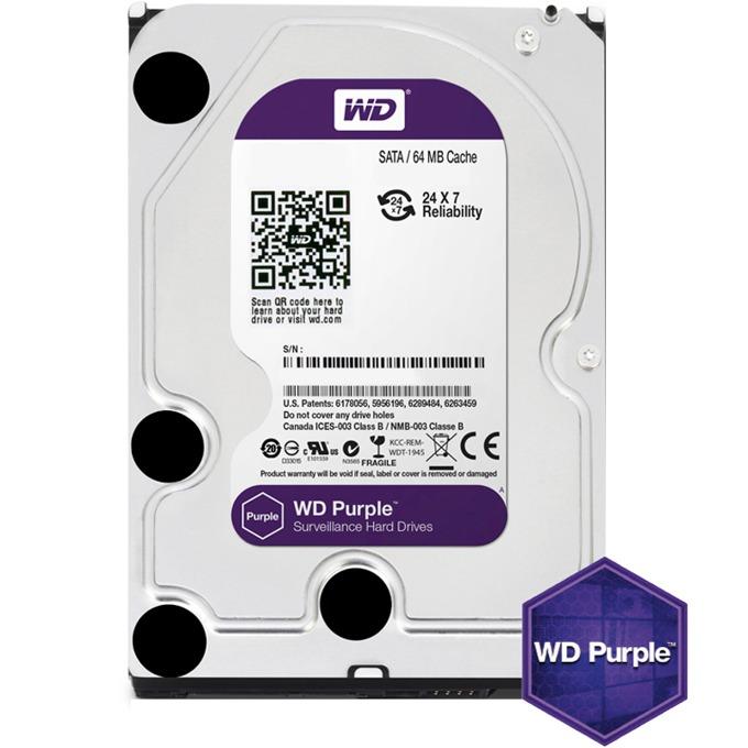 """Твърд диск 4TB WD Purple, SATA 6Gb/s, 5400rpm, 64MB, 3.5""""(8.89 cm) image"""