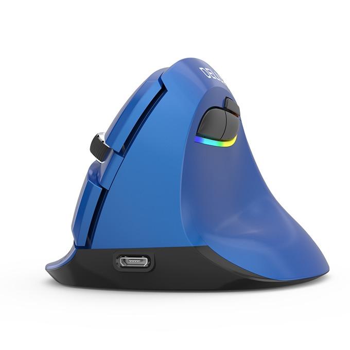 Мишка Delux M618 Mini, оптична(2400dpi), безжична (Bluetooth и 2.4GHz), USB C, вертикална, синя image