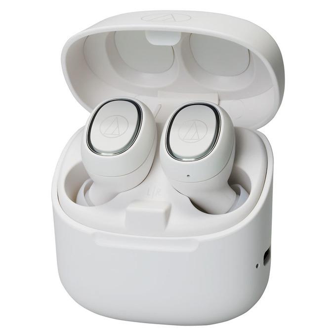 Слушалки Audio-Technica ATH-CK3TW, безжични, микрофон, до 6 часа възпроизвеждане, Bluetooth, кутия за зареждане, бели image