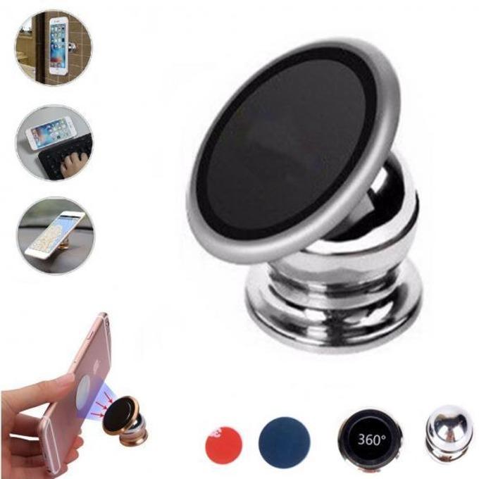 Стойка за телефон Royal Magnet silver, за кола, с 2 броя метални пластини за монтаж към телефона или между калъфа и телефона, задаване на ъгъл и завъртане на 360 градуса, черна image