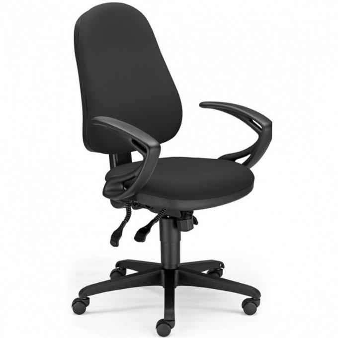 Работен стол Offix Ergo, пластмасова база, подлакътници, черен image