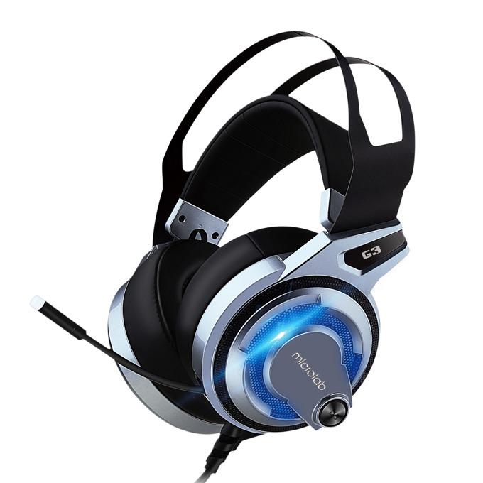 Слушалки Microlab G3, микрофон, подсветка, 7.1 многоканална звукова система, черни/сини image
