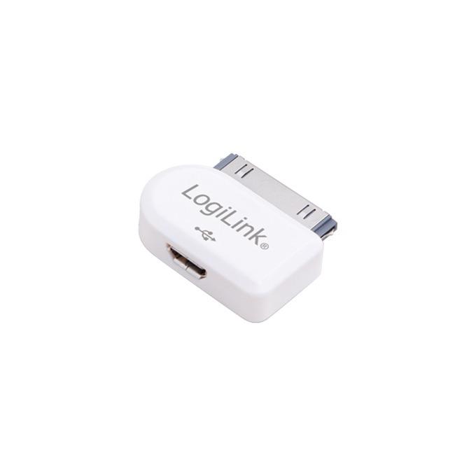 Преходник Logilink AA0019, от micro USB Type B(ж) към Apple 30 pin connector(м), бял image
