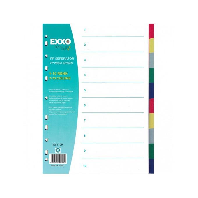 Разделител Exxo, за документи с формат до А4, с десет цветни теми, бял image