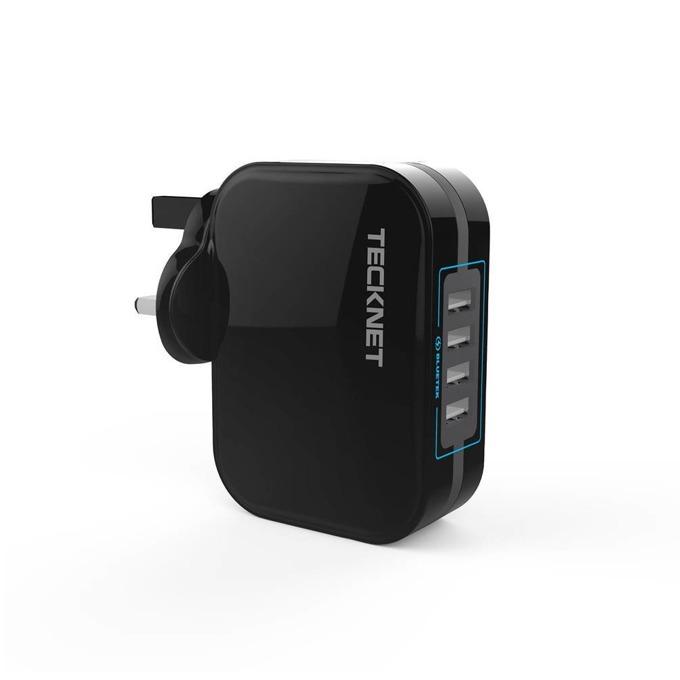 Зарядно устройство TeckNet PowerZone U237, от контакт към 4x USB A(ж), 5V, 4.8A, с UK-стандарт, черно image