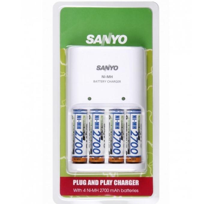 Зарядно устройство Sanyo MQN04-E-4-2700 + 4 батерии AA, HR-3U, 2700 mAh image