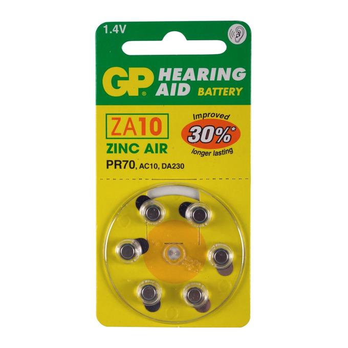 Батерии цинкови GP Hearing Aid ZA10, 1.4V, 6 бр. в опаковка, цена за 1 бр. image