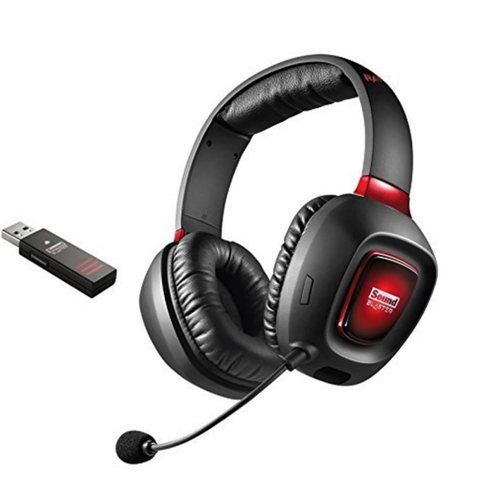 Слушалки Creative SB Tactic 3D Rage Wireless, безжични, микрофон, черно/червени image