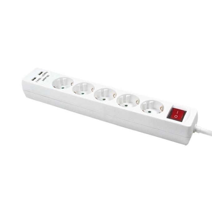 Разклонител LogiLink LPS203U, 5 гнезда, 1.4м кабел, 2x USB Type-A(ж), защита от деца, бял image