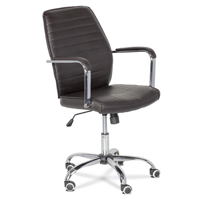 Офис стол Carmen 6174, еко кожа, регулируем люлеещ механизъм, тъмно кафяв image