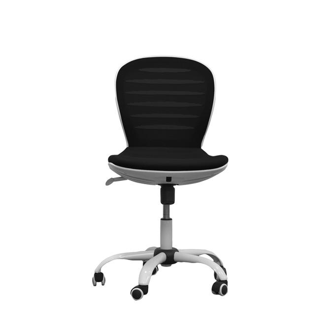 Детски стол RFG Flexy White, дамаска и меш, черна седалка, черна облегалка image