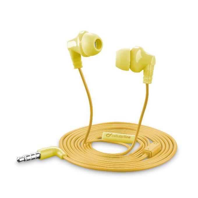 Слушалки Cellular Line Cricket, микрофон, универсални, 3.5mm жак, с бутон за отговор, жълт image