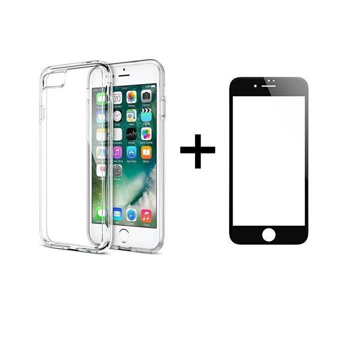 Комплект стъклен протектор черен + калъф Remax Crystal, за iPhone 7/7S, прозрачен image