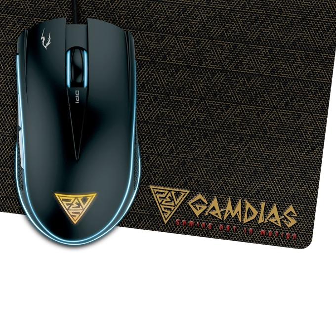 Мишка Gamdias ZEUS E1A, в комплект с подложка за мишка NYX E1, оптична(4200dpi), 6 бутона, USB, черна, гейминг, подсветка image