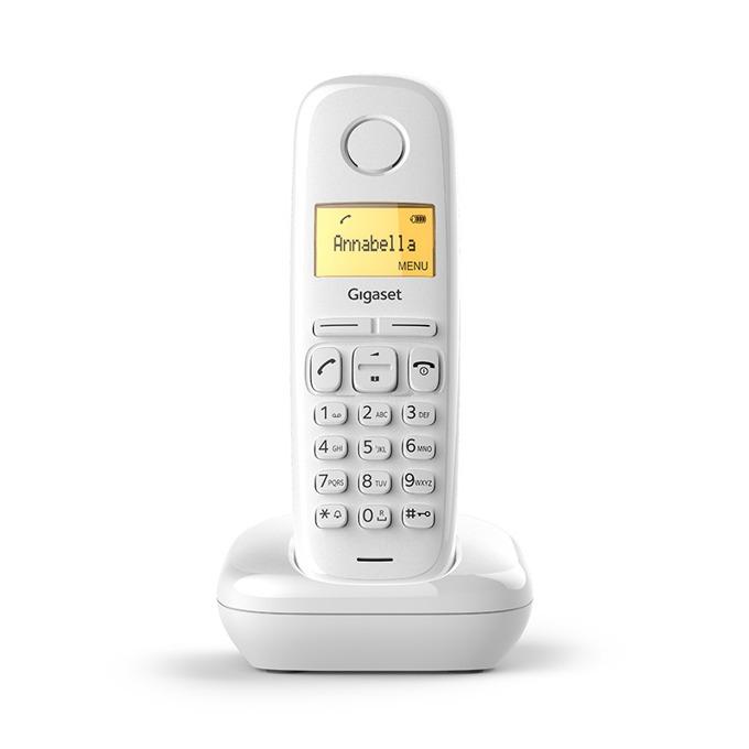 Безжичен телефон Gigaset A170 течнокристален триредов, черно-бял , вътрешен/външен обхват 300/50м, до 18 часа време за разговори, бял image