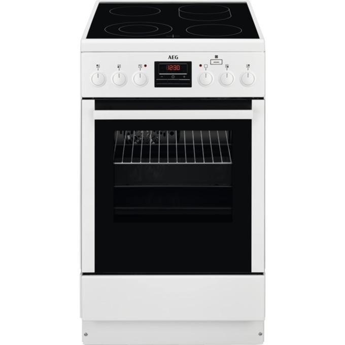 Готварска печка AEG CCB56400BW, клас А, 58 л., 4 котлона, пуш-пул въртящи се бутони, бял image
