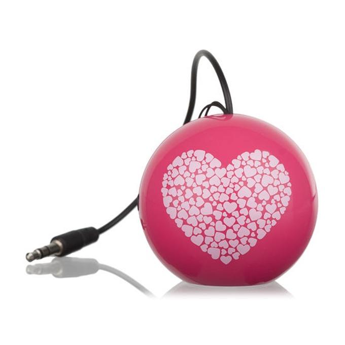 Тонколона KitSound Mini Buddy Heart, 1.0, AUX, розова, преносима, вградена Li-Ion батерия image