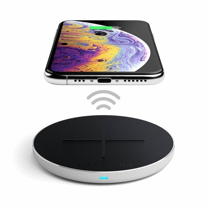 Безжично зарядно устройство Satechi Wireless Charging Pad v2 Fast Charging, USB Type C, черно image