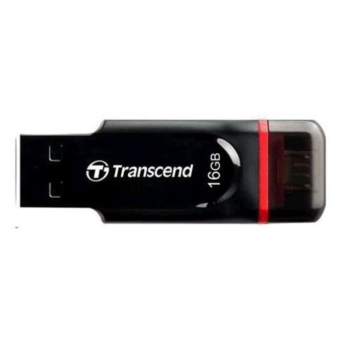 16GB USB Flash Drive, Transcend JetFlash 340, USB 2.0/micro USB, OTG, черна image