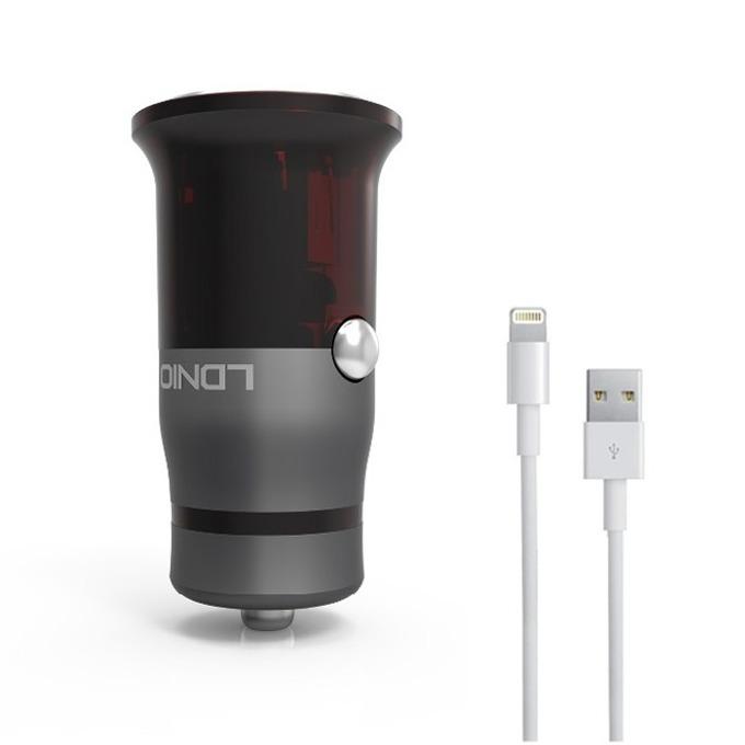 Зарядно устройство за кола LDNIO C304Q, от автомобилна запалка към USB/lightning, 12V, 1.5A, черен image