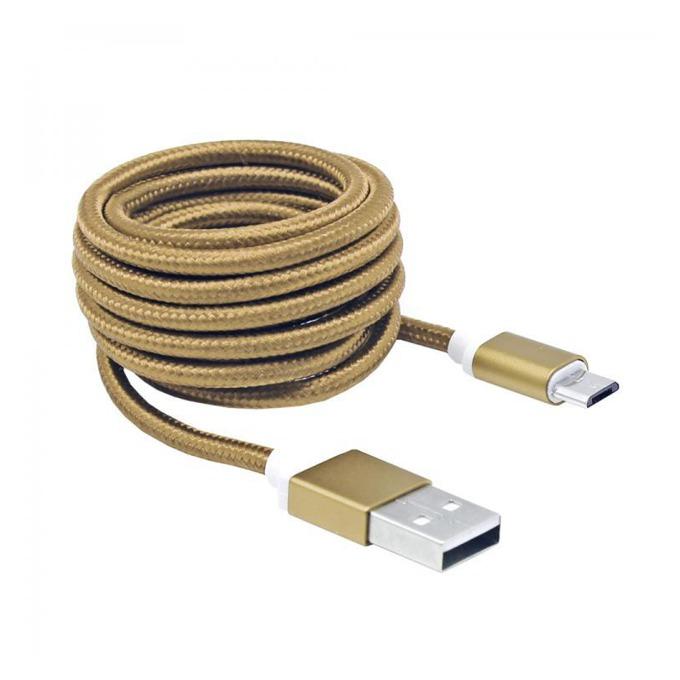 Кабел SBOX USB AM-MICRO-15G, от USB A(м) към USB Micro B(м), 1.5m, сплетена обвивка, златист image
