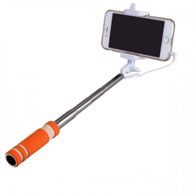 Селфистик Digital One SP00023, Monopod 48 см., сгъваем, телескопично разпъване, бутон за заснемане, алуминиева сплав, гумирана дръжка, оранжев image